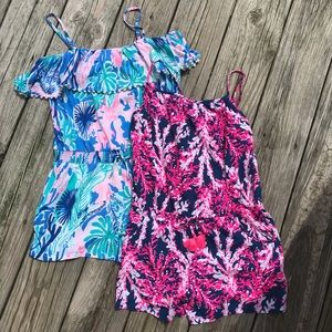 Pair of girls Lilly P rompers with pockets! Sz XL